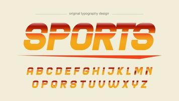 typographie sportive italique orange et rouge vecteur