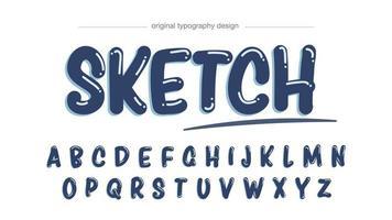 typographie effet marqueur bleu foncé vecteur