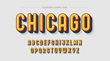 affichage arrondi typographie majuscule vecteur