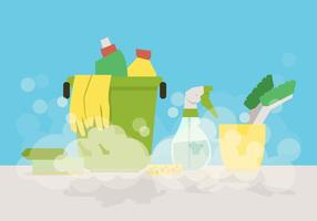 Outils de nettoyage de printemps vectoriel