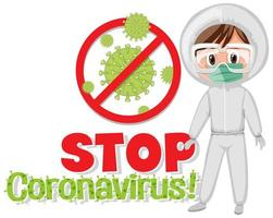 Affiche `` Stop Coronavirus '' et médecin en costume de matières dangereuses