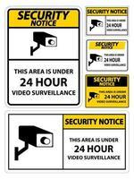 avis de sécurité cette zone est sous signe de symbole de surveillance vidéo 24 heures vecteur