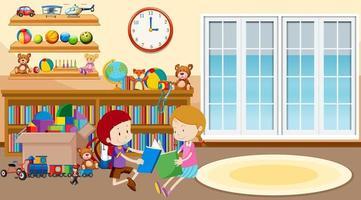 garçon et fille lisant dans la chambre