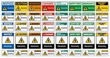 collection de signe de symbole de l'électricité vecteur