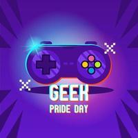 jour de fierté de geek avec télécommande rougeoyante