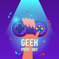 Fête de la fierté geek avec main tenant la conception du joystick