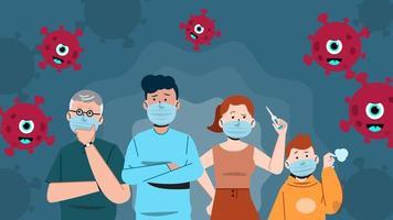 les personnes qui ressentent l'anxiété du virus corona vecteur