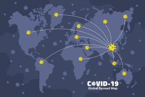 Carte de diffusion mondiale Covid-19 en provenance de Chine