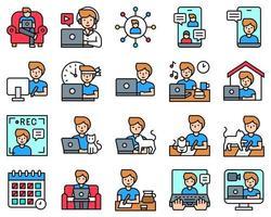 travail à domicile jeu d'icônes, version masculine