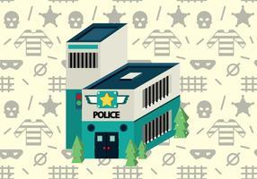 Vector isométrique de bureau de police gratuit