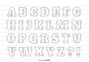 Alphabet dessiné à la main mignon désordonné vecteur