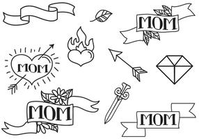 Vecteurs de tatouages de maman gratuits vecteur