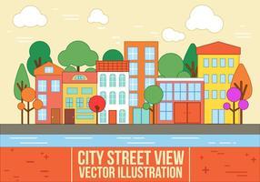 Vue libre sur la rue de la ville vectorielle vecteur