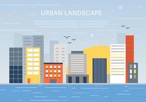 Fond d'écran de paysage urbain plat gratuit vecteur