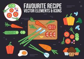 Éléments et icônes vectoriels gratuits de recette vecteur