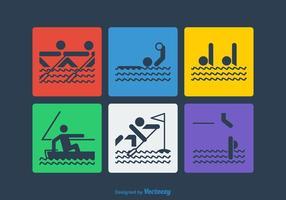 Pictogrammes de sport aquatique vectoriel gratuit