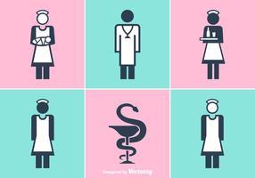 Icônes vectorielles gratuites pour infirmières et docteurs vecteur