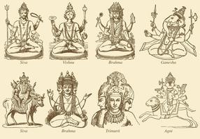 Divinités indiennes vecteur