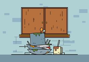 Vecteur de vaisselle sale