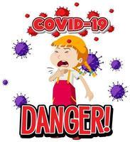 fille malade avec covid-19 vecteur