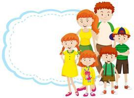 modèle de cadre avec famille heureuse vecteur
