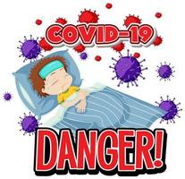 danger de covid-19 sur fond blanc