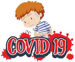 Covid-19 signe avec garçon tenant l'estomac