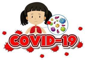 Covid-19 avec une fille et des cellules virales dans les poumons vecteur