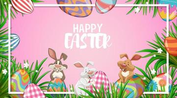 lapins de pâques heureux et oeufs peints vecteur