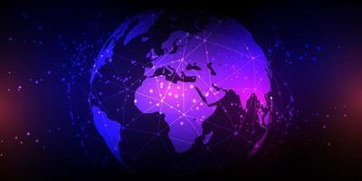 globe avec communications réseau