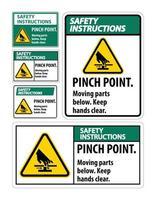 point de pincement de sécurité pièces mobiles signe de sécurité vecteur
