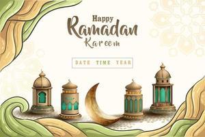 fond de conception de carte de voeux ramadan kareem islamique vecteur