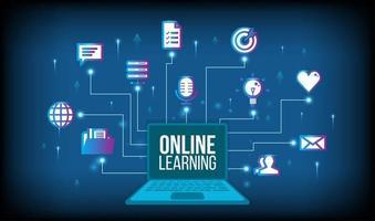concept d'apprentissage en ligne avec ordinateur portable vecteur