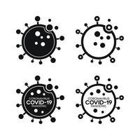 icônes d'infection de virus avec covid-19 vecteur