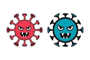 émoticônes de coronavirus covid-19 monstres vecteur