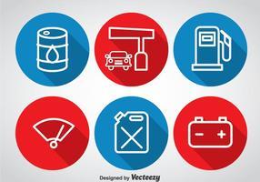 Icônes de cercle de pompe à gaz