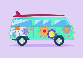 Vecteur de bus hippie gratuit