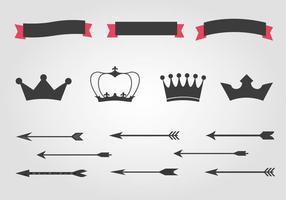 Vecteur gratuit de couronnes et de flèches