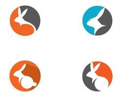 jeu d'icônes de logo circulaire de lapin