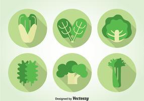 Icônes de légumes verts vecteur