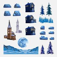 ensemble peint de maisons, de tours et d'éléments de paysage vecteur