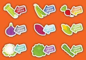 Étiquettes de légumes frais vecteur