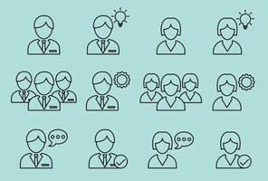 Les icônes des entreprises féminines et masculines vecteur