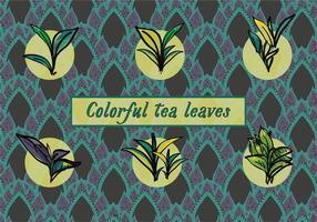 Fond de vecteur de feuilles de thé variées gratuites