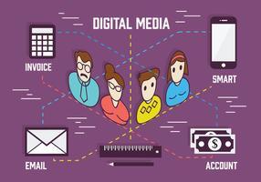 Fonds de marketing numérique gratuit avec collection d'icônes diverses vecteur