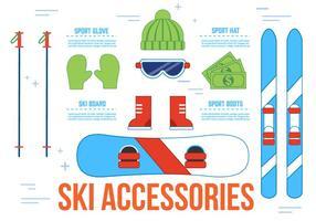 Icônes vectorielles gratuites pour les accessoires de ski vecteur