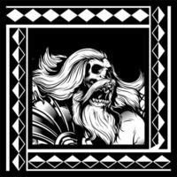 squelette aux cheveux longs et barbe vecteur