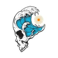 tête de crâne avec des vagues de la mer vecteur