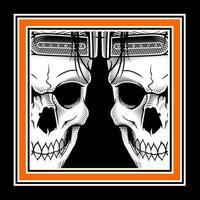 crânes jumeaux dans un cadre orange
