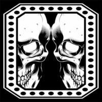 double face de crâne dans un cadre de points